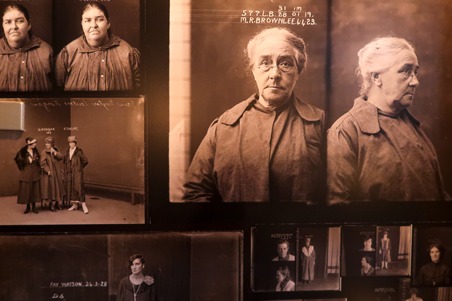 Photos from an asylum adorn the walls of the bathrooms.  Weird.