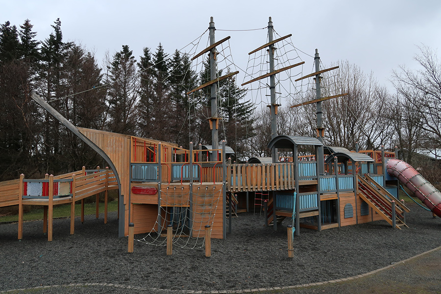 The massive pirate ship playground is a favourite for anxious parents to run after their children as they climb ever higher.